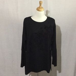 Simply Vera Vera Wang Black Fleece Lined Tunic